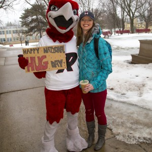 Rally spreads cheer around campus on National Hug Day.