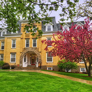 Bartlett Hall is beautiful even during a spring rain.
