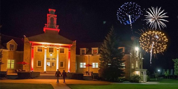 Harwood Memorial Union and fireworks