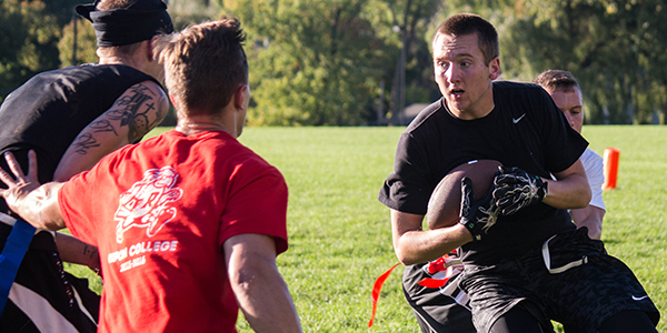 Intramural flag football is a popular activity for students in the fall.