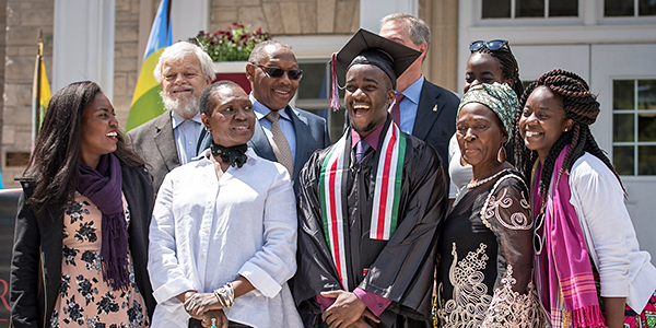 Many of James-Mark Ooko-Ombaka's family members came all the way from Kenya to help him celebrate his graduation.
