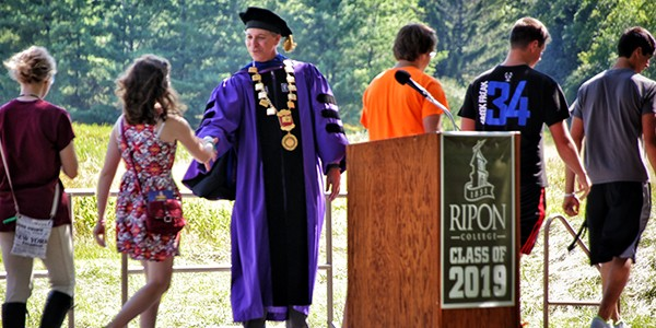 President Messitte greets each new student before the Matriculation Convocation