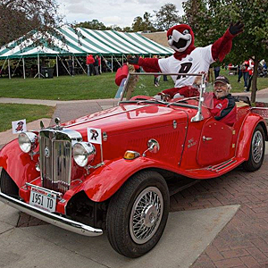 Rally rides to Ingalls Field in style