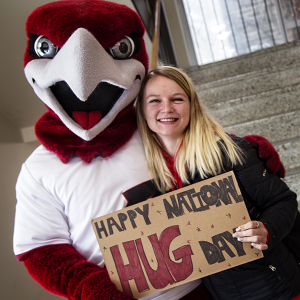 Rally greeted students with hugs in celebration of National Hug Day, Jan. 21.