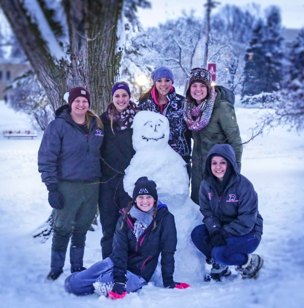 This group of women created a new friend during a recent snowfall.