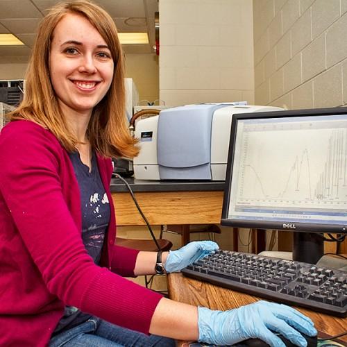 Jordan Buhle in chemistry lab