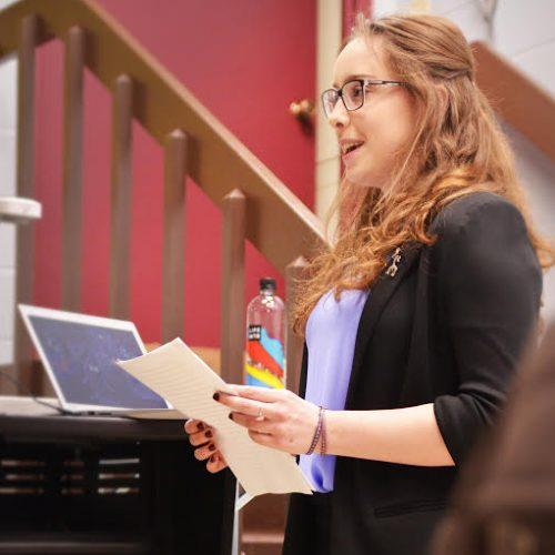 Photo of Evie Green presentation at Senior Showcase