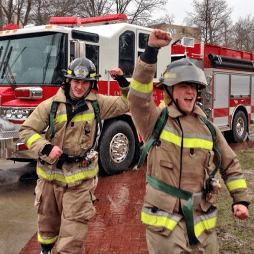 Phi Delta Theta students in fire gear