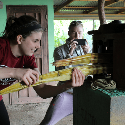 Katie King making sugar in Costa Rica