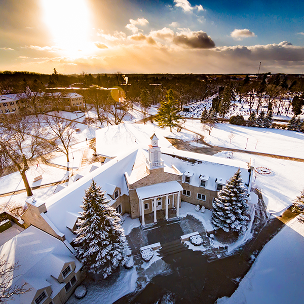 A fresh blanket of snow makes for scenic views on campus.