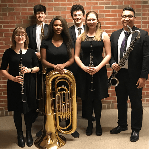 Photo of Ripon College students who participated in 2018 Wisconsin Honors Band