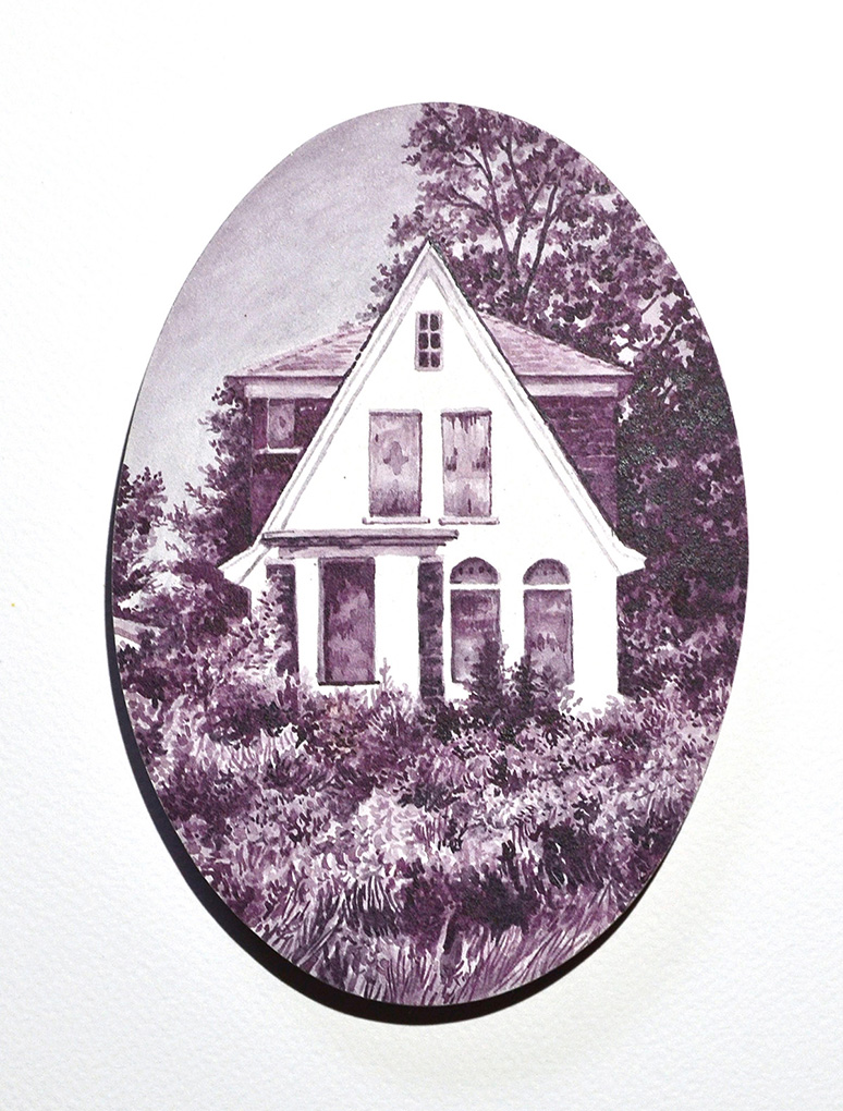 home in a red-tinted frame