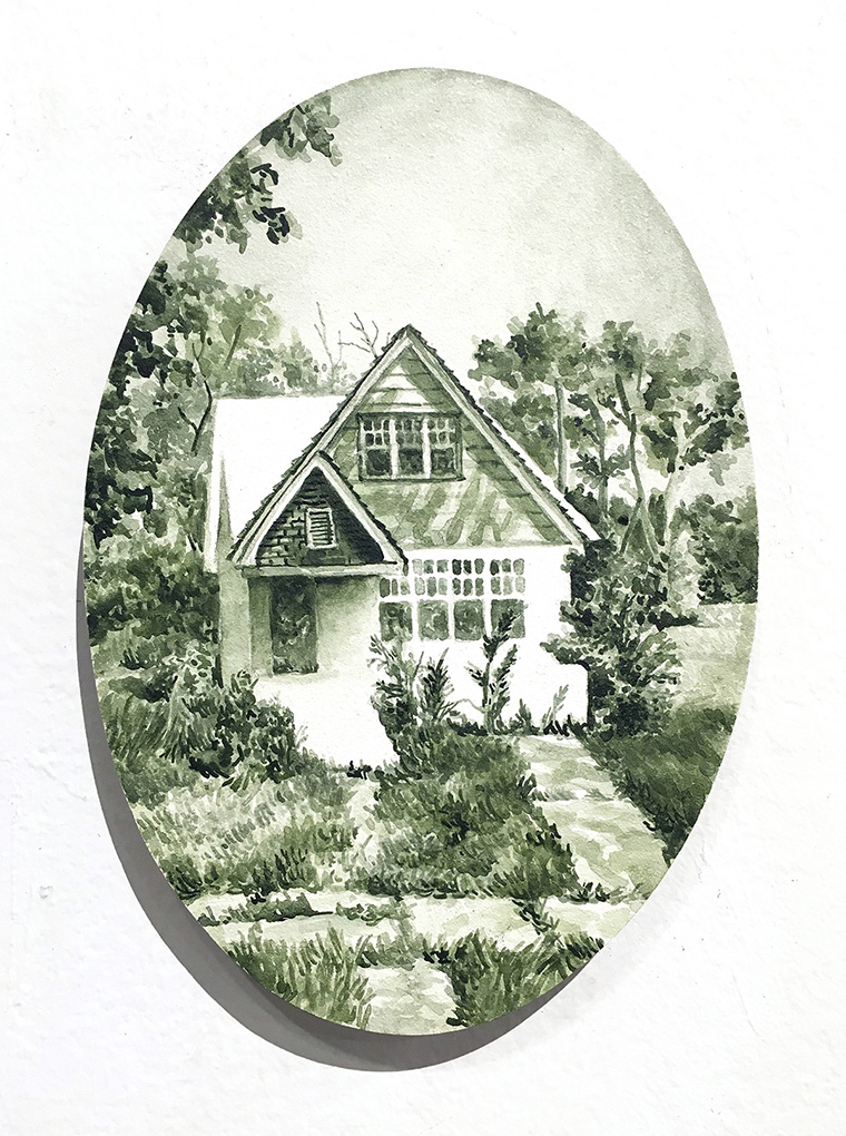 home in a green-tinted frame