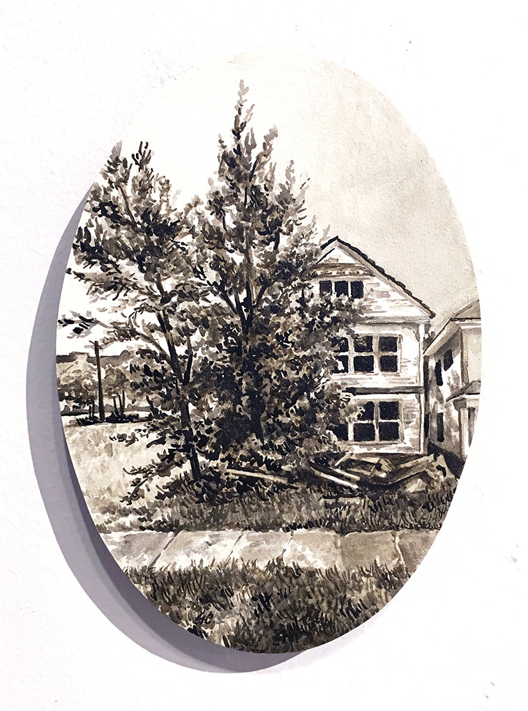 home in a brown-tinted frame