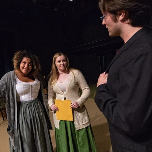 Student actors rehearse 'Silent Sky'