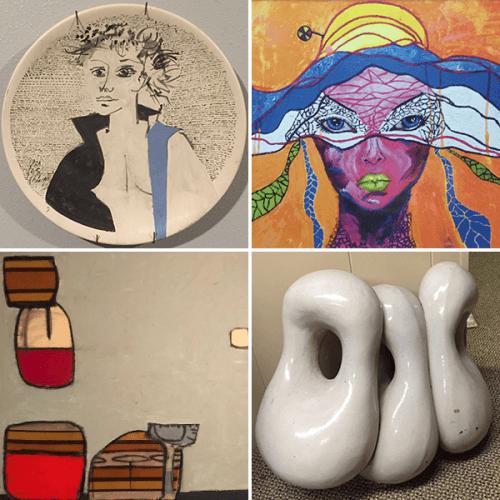 A composite photo featuring artworks by Lester Schwartz, Stephen Hermann and Liz Duarte