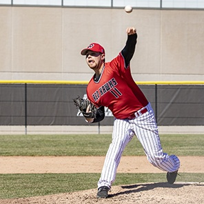 The Red Hawks baseball team is in contention for the Midwest Conference Tournament.