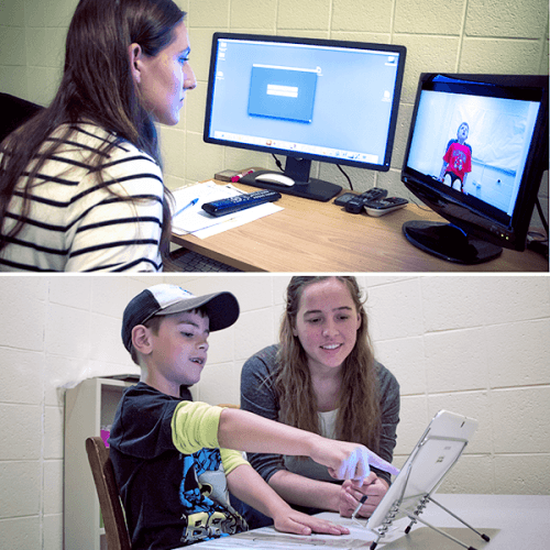Ripon College students working with children in the cognition lab