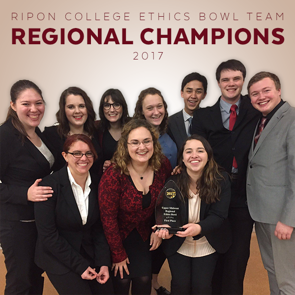 Our ethics bowl team recently won the regional championship and will compete at nationals in the spring.