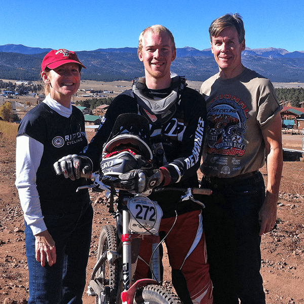 Kyle Greene '15 and family at mountain bike nationals at Angel Fire, New Mexico