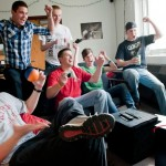 Men Playing Video Game in Scott Hall