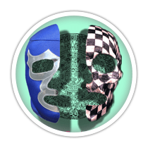 two colorful masks next to eachother on a green background