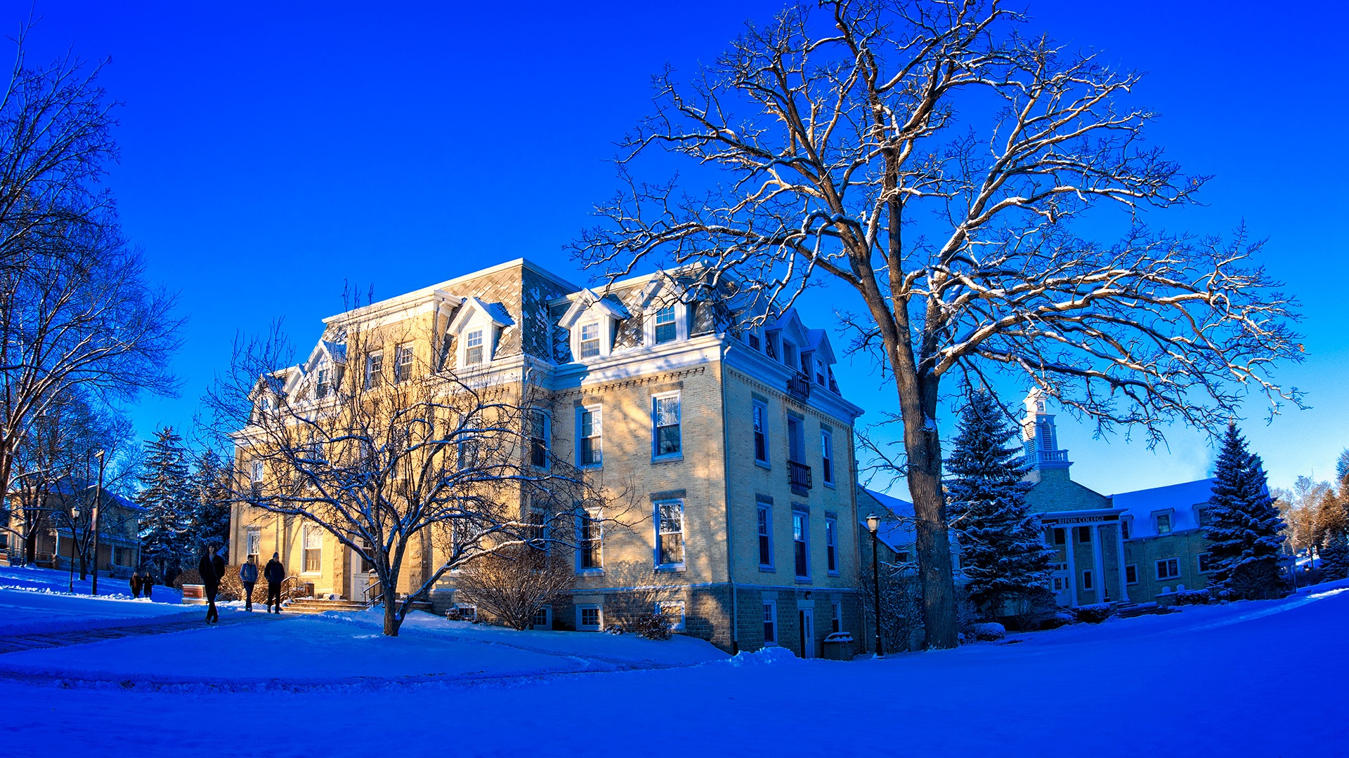 Bartlett Hall and Harwood Memorial Union in Winter