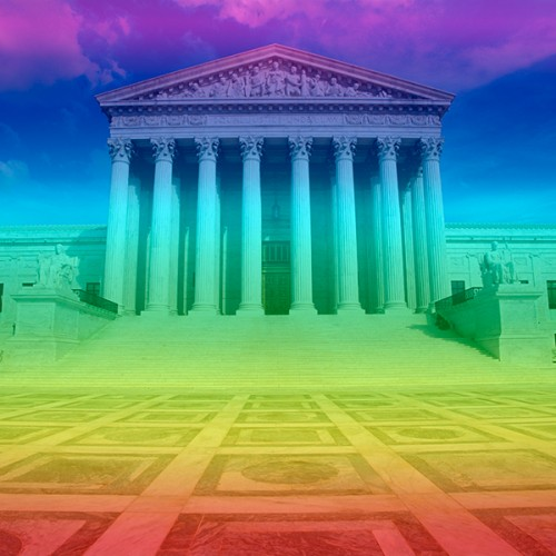 Supreme Court with rainbow