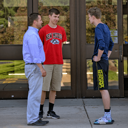 Photo of Kevin Kitslaar with students