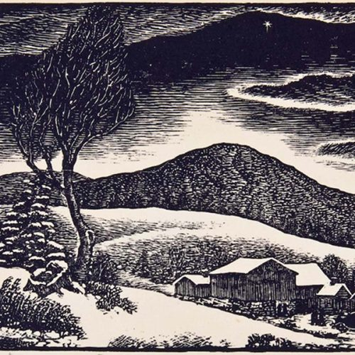 Drawing of a winter scene