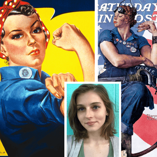 """Madeline Hantzsch '19 with the """"We Can Do It!"""" Rosie, left, and the Norman Rockwell version"""