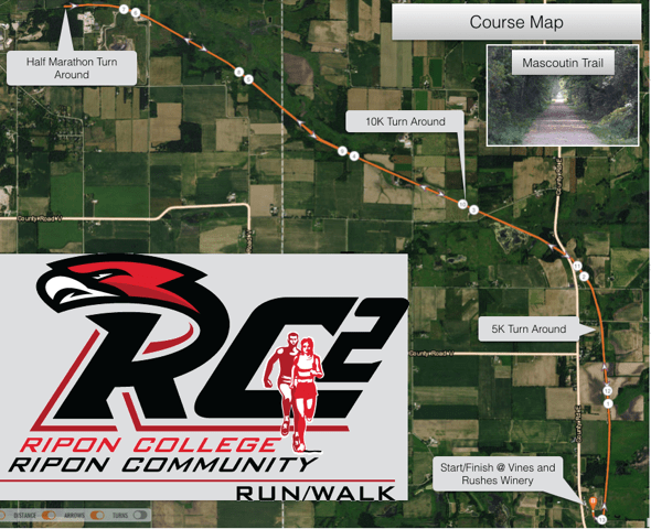 RC2 Run Course Map starting from Vines and Rushes Winery