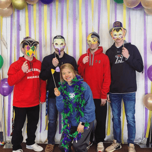 Sodexo Food Service hosted a Mardi Gras party at lunch in the Commons March 5