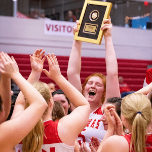 The Red Hawks women's basketball team hosted and won the MWC tournament.