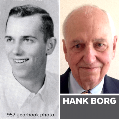 Composite photo of Hank Borg in 1957 and now.
