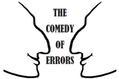 """A promotional image with the play's title, """"The Comedy of Errors""""."""