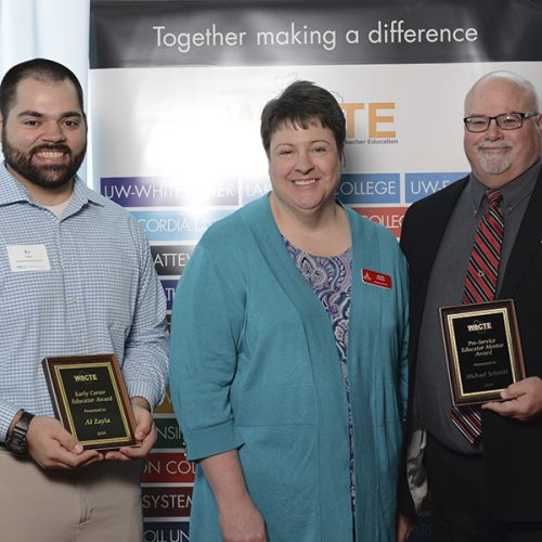 A.J. Zayia, left; Jean Rigden, director of teacher education at Ripon College; Michael Schmitt