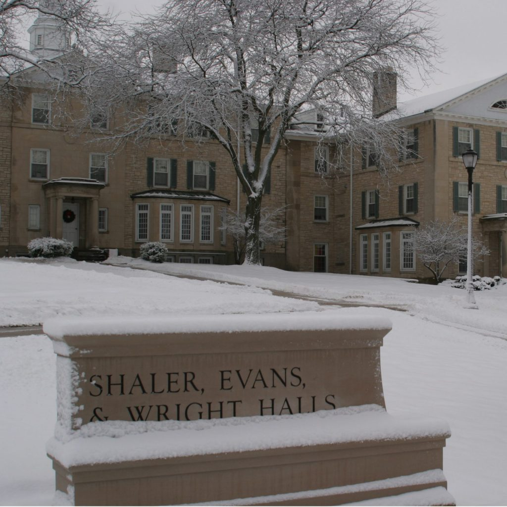 A photo of Tri Dorms during winter.