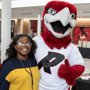 Rally the Red Hawk welcomed incoming students during Summer Orientation.