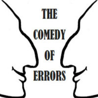 "A doodle of two faces surrounding the title of the play, ""The Comedy of Errors"""