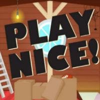 "A cartoon image that reads ""Play Nice!"""