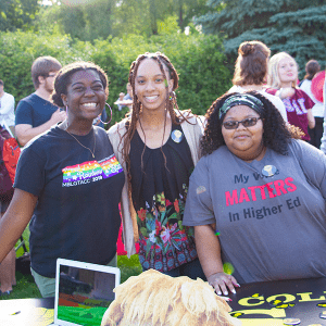 Students representing the Black Student Union greet fellow students at the Student Activities Fair