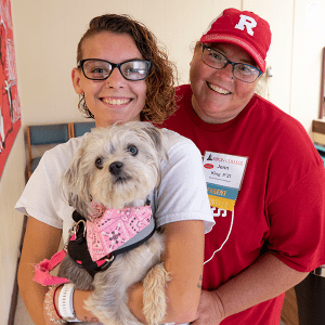 Madie King '21 and her mother, Jenn, with their dog, Ripley.