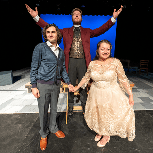 "From left to right, Benjamin Marns as Matt, Wil Bridenhagen as El Gallo and Maria Reber as Luisa rehearse ""The Fantasticks."""