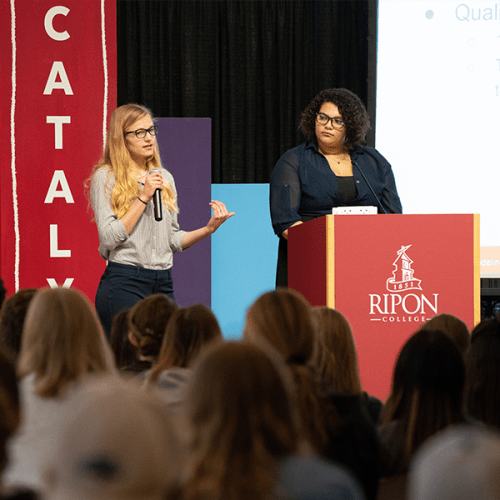 Two Ripon College students presenting at Catalyst Day, April 2019