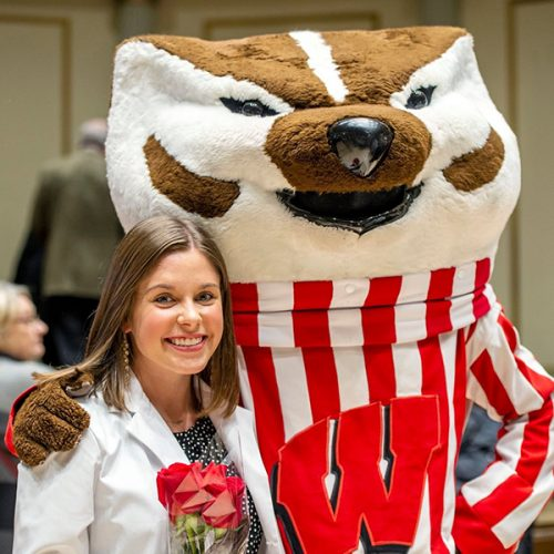 Rachel Hawley '29 and UW-Madison's Bucky Badger
