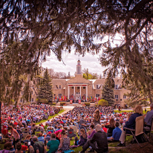harwood lawn on commencement day