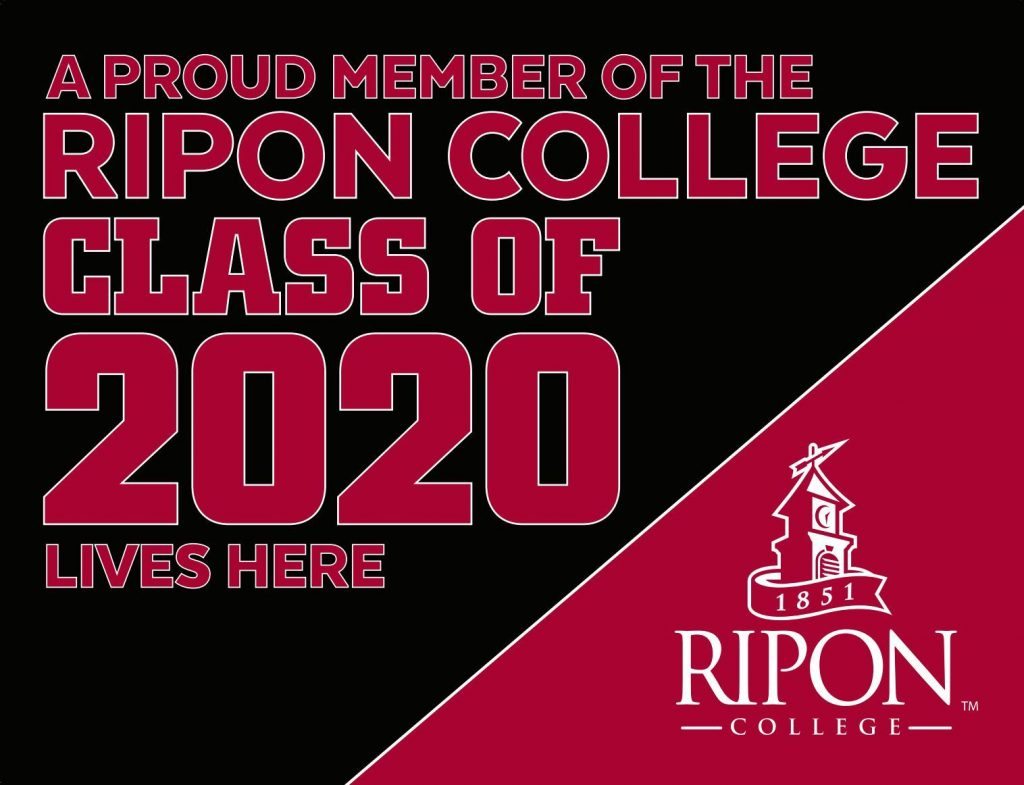 red and black Ripon College Class 0f 2020 sign