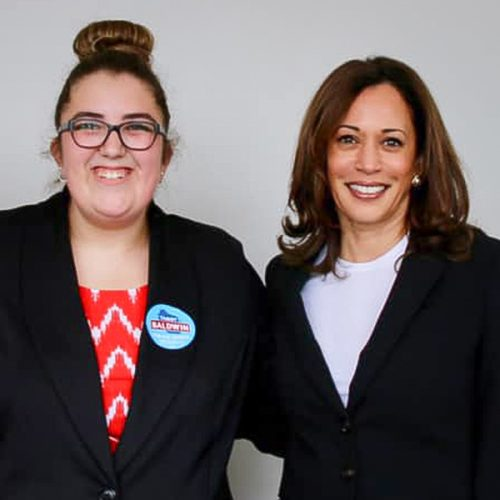 Abby Korb and Kamala Harris