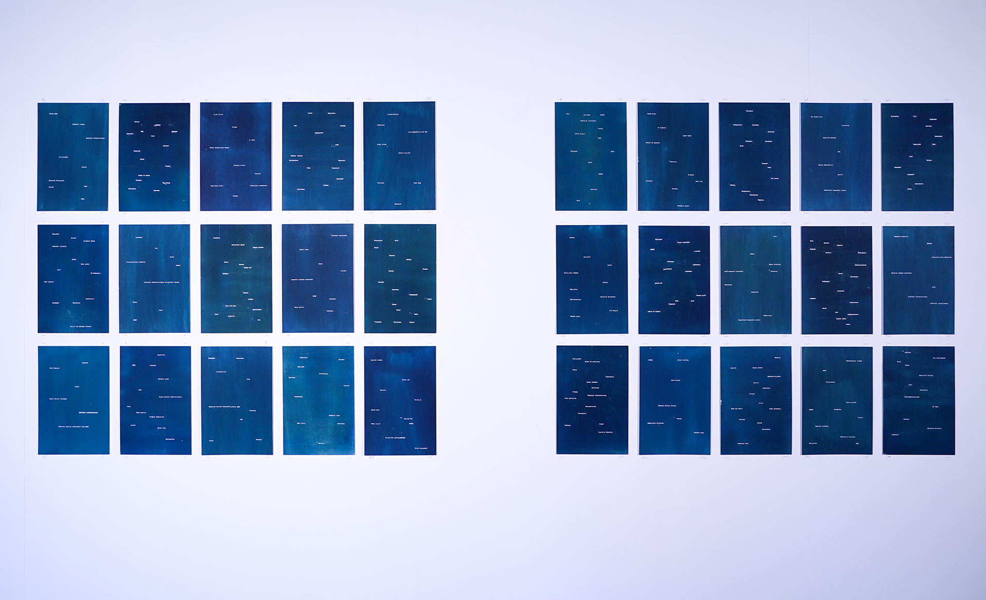 panels of blue with white writing